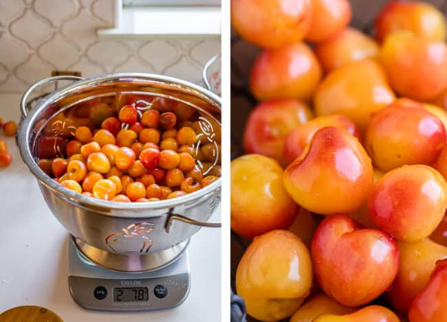 cherries in a colander being weighed on a scale, rainier cherries close up