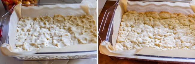 raw shortbread dough in a glass pan, baked crust in a pan