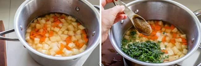 potatoes, carrots and water in a pot, adding parsley and bouillon