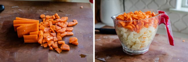 chopped carrots on a cutting board, carrots and potatoes in a measuring cup