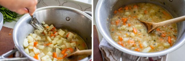 mashing potato with fork, slightly mashed soup in a pot