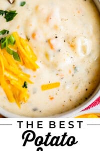 homemade potato soup recipe in a bowl with cheese