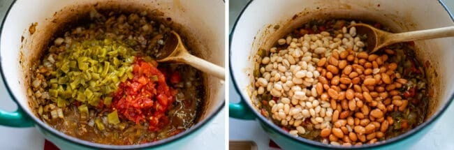 adding diced green chilies and tomatoes to a pot of onions, adding beans to the same pot