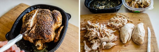 breaking down a rotisserie chicken on a cutting board