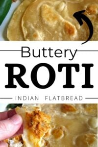 Roti Indian Bread, closeup, with caption Buttery Roti Indian Flatbread