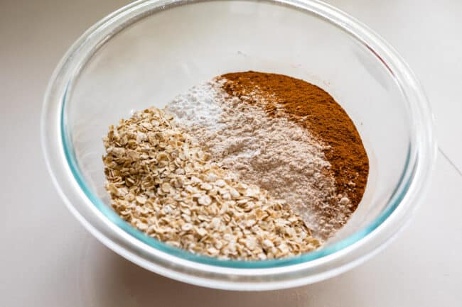 bowl of dry ingredients for dough in a glass bowl