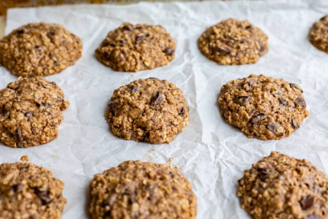 baked oatmeal cookies just out of the oven