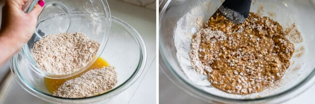 adding dry ingredients to cookie dough in glass bowl on white counter
