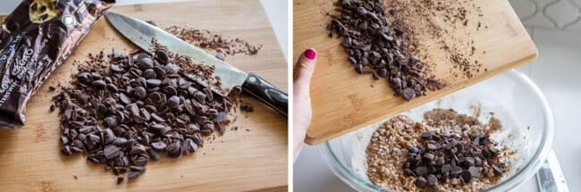 chopping dark chocolate chips on a cutting board with a knife, adding to dough