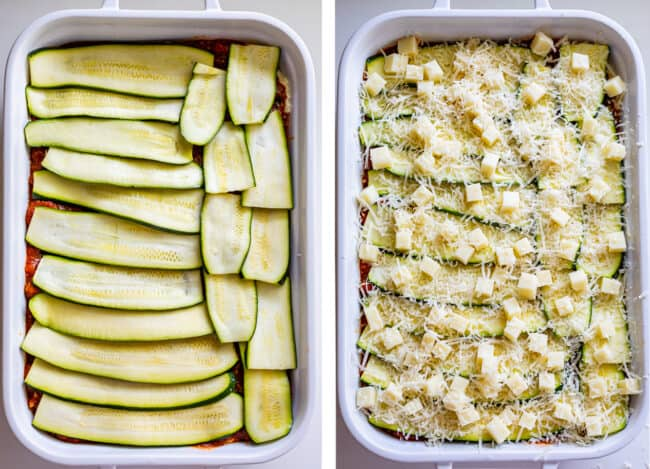 zucchini noodles layered in a pan, topped with mozzarella and parmesan