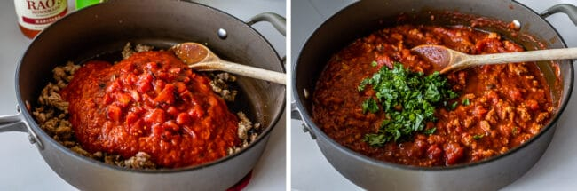 sausage and tomatoes in a pan, completed marinara sauce with basil