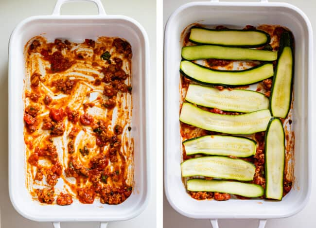 white casserole dish with red sauce, topped with zucchini noodles
