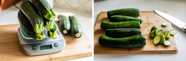 2 pounds of zucchini on a scale, zucchini with ends sliced off