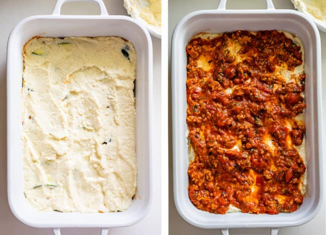 white casserole dish with ricotta, then marinara sauce on top
