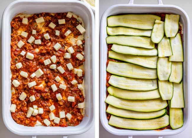 White casserole dish with marinara sauce and mozzarella, topped with zucchini noodles