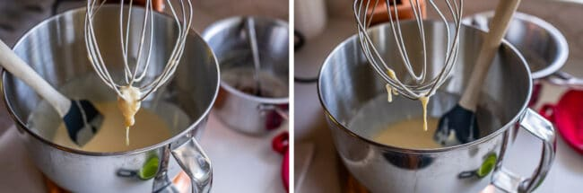 beating eggs and sour cream in a stand mixer with whisk attachment