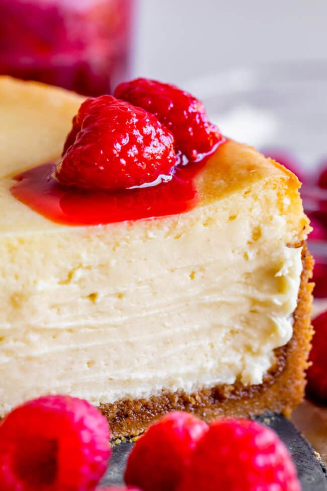 classic new york cheesecake recipe with raspberry topping