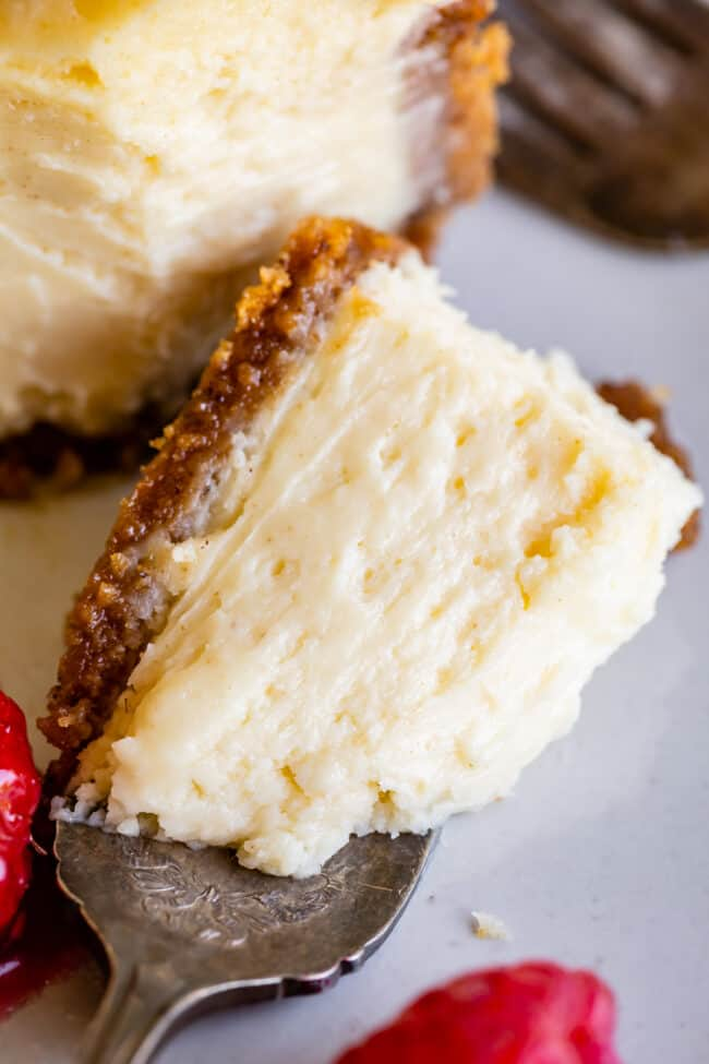 a bite of creamy cheesecake on a fork