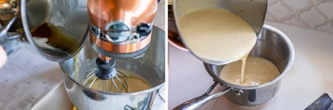 adding browned butter to sour cream mixture in a copper stand mixer