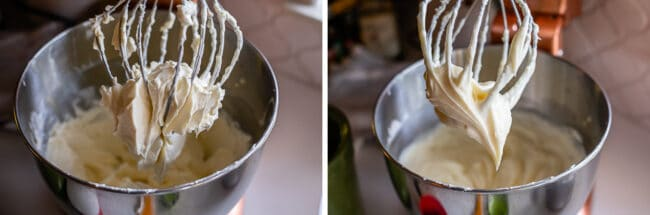 beating cream cheese with a whisk attachment in stand mixer