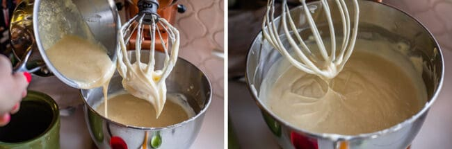 adding sour cream mixture to cream cheese mixture in stand mixer with whisk attachment
