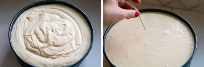 Cheesecake batter in springform pan, using toothpick to get air bubbles out of cheesecake