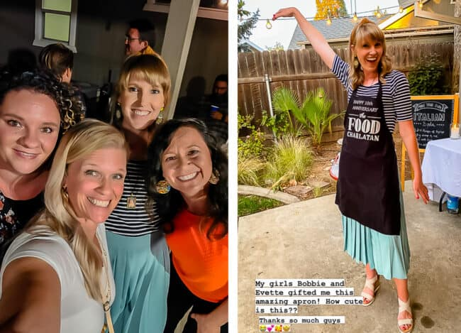 """4 women taking a selfie, woman in a black apron with """"The Food Charlatan"""" logo"""