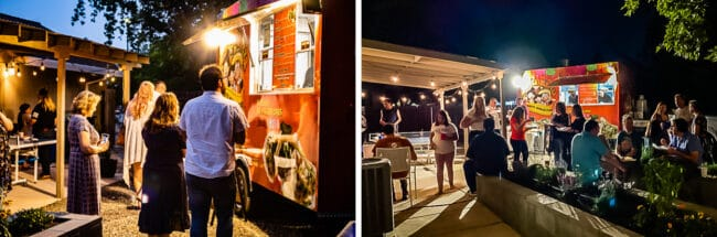 people standing in line for a taco truck in a yard at night