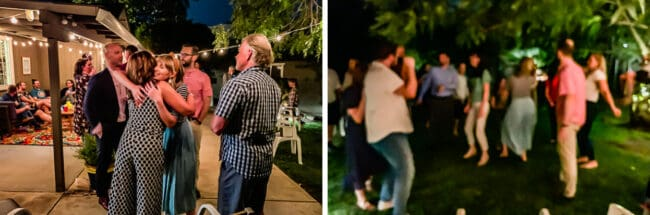 people hugging at a party, dancing at an outdoor party at night